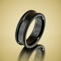wedding photo - Men's Wedding Band Comfort Fit Interior Black Zirconium Ring