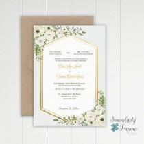 wedding photo - Watercolor Greenery Wedding Invitation - Ivory and greenery wedding invitation set - Printable Greenery Wedding Invitation Set
