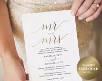 wedding photo - Gold Wedding Invitation, Wedding Invitation Template, Wedding Invite, Faux Gold Wedding Invitation, Mr and Mrs, Instant Download #BPB324_1B
