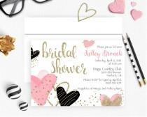 wedding photo - Pink Bridal Shower Invitation, Pink & Gold Bridal Shower Invitation, Gold Glitter, Pink and glitter Hearts, Pink Hearts Invitation