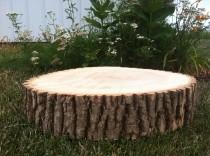 "wedding photo - ONE 8-10"" Rustic Wedding Centerpiece Slice Wood Disc Tree Branch Log Round LARGE Coaster Cake stand"