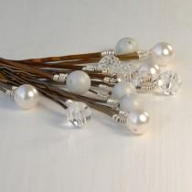 wedding photo - White and Silver Pearl Bobby Pins, Bridal Bobby Pins, Set of 12 Swarovski Pearl & Crystal on Bronze Hair Pin, Wedding Hair, The Frost Set