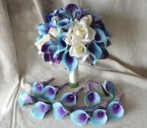 wedding photo - Bridal Bouquet Real Touch Flowers Blue Purple Calla Lily Ivory Roses Blue Purple Orchids Silk Wedding Bouquets