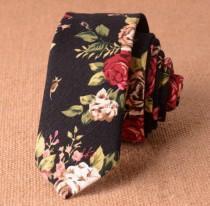 """wedding photo - Black Floral Skinny Tie 2"""" Inch Necktie Retro"""