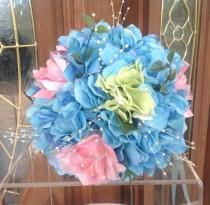 wedding photo - Bouquet, Bridal Bouquet, Beach Wedding Bouquet, Hydrangea Bouquet, Turquoise Bouquet, Outdoor Wedding Bouquet, Destination Wedding Bouquet