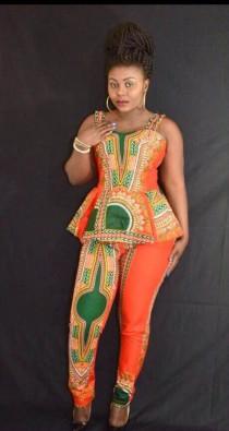 wedding photo - Dashiki African Princess Pants Set, Ankara Party Dress African Clothing Sleeveless Dress African Dress African Fashion Women's Clothing