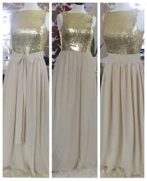 wedding photo - Gold sequin bridesmaid dress / beige chiffon dress / maxi bridesmaid dress / gold sequin dress / custom made dress / sequin prom dress