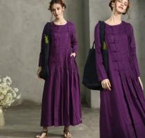 wedding photo - Purple Sangria Maxi Dress, Pleated Handmade Dress, Maxi Linen Dress, Linen Evening Dress, Long Sleeve Dress, Cocktail Dress, Long Linen
