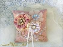 wedding photo - Wedding pillow bearer rings, wedding pillow, wedding pillow rings,wedding gift, Bearer cushion alliances,ring pillow lace
