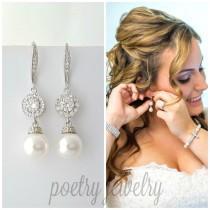 wedding photo - Ivory Pearl Wedding Earrings Crystal Bridal Pearl Drop Earrings Silver Swarovski Pearl Wedding Earrings Wedding Jewelry, Alena