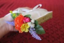 wedding photo - Wedding ring bearer box, ring bearer pillow, wedding ring holder, gold ring box with flowers, Boho Indie wedding accessory.