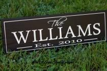 wedding photo - Bridal Shower wedding gift, Family name sign, Family Established Sign, Wood sign established date, personalized parents anniversary gift