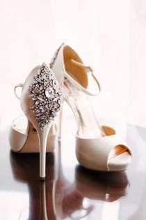 wedding photo - Badgley Mischka Crystal-Detailed Neutral Wedding Shoes
