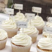 wedding photo - Ivory Cupcake Sticks, Food Flags, Cupcake Decorations, Food Decoration, Wedding Decorations, Wedding Decor, Party Decorations, Party Decor
