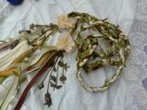 wedding photo - Woodland wedding - Hand fasting cord- green, ivory and gold, satin, lace, chiffon  - Ready to ship