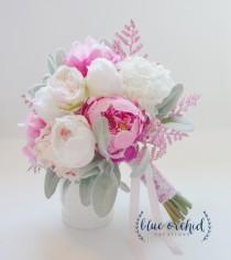 wedding photo - Pink and Cream Peony Bouquet with Lambs Ear and Pink Statice Silk Wedding Bouquet Bridal Bouquet