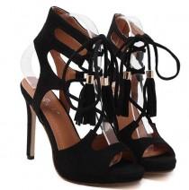 wedding photo - Lace Up Black Sandals Woman Shoes Summer 2017 Platform Sandals Wedding Shoes High Heel Sandals Women Heels Fringe Sandals