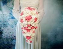 wedding photo - Big CASCADE / teardrop ivory and coral rustic wedding Bridal bouquet sola Flowers Burlap lace roses vintage wedding custom original