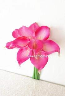 """wedding photo - JennysFlowerShop Latex Real Touch 15"""" Artificial Calla Lily 10 Stems Flower Bouquet for Home/ Wedding Hot Pink"""
