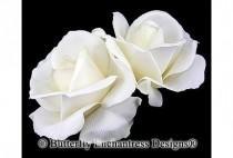 wedding photo - Wedding Hair Flowers, Bridal Hair Accessories, Fascinators, Headpiece - 2 Ivory Rose Flower Hair Clips