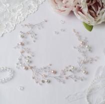 wedding photo - Pearls@Crystals  Long hair vine,Bridal hair vine,Crystals Bridal Wedding,Hairpiece Bridal Hair Vine,Wedding hair-vine,pearl hair vine 481