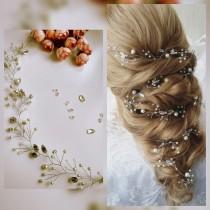 wedding photo - Swarowski Long hair vine,Bridal hair vine,Crystals Bridal Wedding,Hairpiece Bridal Hair Vine,Wedding hair-vine,pearl hair vine 229