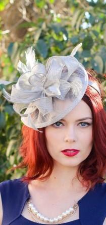 wedding photo - Silver Gray Fascinator, Womens Tea Party Hat, Church Hat, Derby Hat, Fancy Hat, Silver Hat, Tea Party Hat, wedding hat