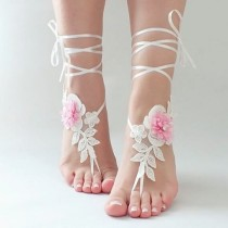 wedding photo - Lace barefoot sandals