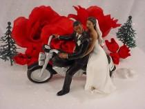 wedding photo - Motorcycle Get Away Ethnic Couple Hispanic Bride and African American Groom Wedding Cake Topper- Mix Skin Tones Hand Painted Figurines