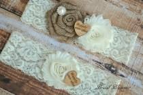 wedding photo - Ivory Tan Burlap Bridal Garter Set