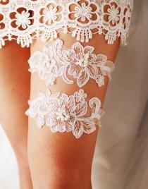 wedding photo - Wedding Garter Set Bridal Garter Belt - Keepsake Garter Toss Garter Included - Antique White Flower Lace Garter Garters - Vintage Inspired