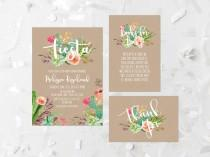 wedding photo - Fiesta Baby Shower Invitation Printable Succulent Baby Shower Invite Cactus Fiesta Shower Invite Kraft Watercolor Succulent Floral 240