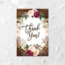 wedding photo - Rustic Floral Thank You Card Printable Floral Wood Bridal Shower Thank You Cards Country Floral Baby Shower Thank You Note Blush Flowers 272