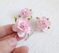 wedding photo - Pink Rose Hair Clips, wedding hair accessories, bridal hair clips, pink rose pins, flower hair clips, rose bobby pins, flowergirl