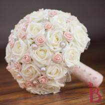 wedding photo - Blush pink wedding bouquet, ivory and pink bridal bouquet, vintage bouquet, chic bridal bouquet, ivory roses with blush pink pearls and lace