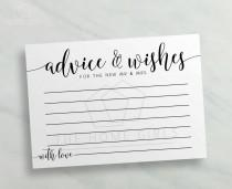 wedding photo - Advice and Wishes Cards Mr and Mrs  / Calligraphy Printable Advice for Bride and Groom / Newlyweds / Wedding Advice Card / Instant Download