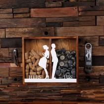wedding photo - Beer Cap Holder Personalized Shadow Box FREE Bottle Opener Corkscrew Wine Cork Holder, Couple , Craft Beer His and Hers, Wedding Gift 025335