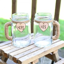 wedding photo - 2 Personalized Wedding Toasting Mugs Custom Rustic Reception Shabby Chic Set Bride, Groom, Bridal Wedding Party Twine Mr & Mrs His and Hers