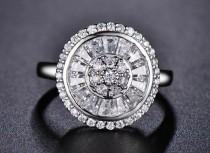 wedding photo - Art Deco Engagement Ring - White Gold Plated & CZ