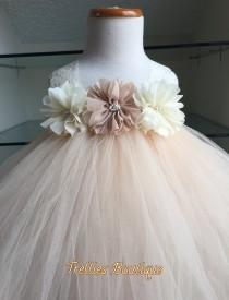 wedding photo - Ivory Champagne Flower Girl Chiffon Flower Tutu Dress, Flower Girl Dress- Wedding Dress- Junior Bridesmaid