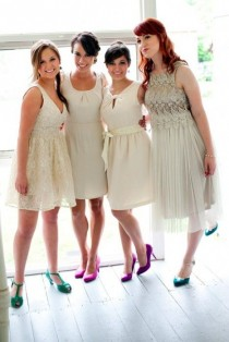 wedding photo - Off-white Bridesmaid Dresses - Vow Day