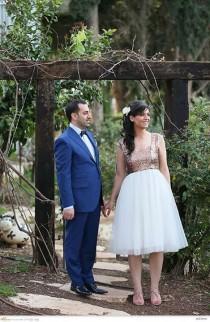 wedding photo - Cap sleeve Sequinned tea length tulle Wedding Dress / Rose gold Paillettes short wedding dress - MADE TO ORDER
