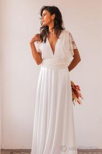 wedding photo - Romantic wedding dress, lace straps wedding dress, standard wedding dress, rustic bridal gown, romantic bridal gown, boho wedding dresses