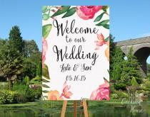 wedding photo - Floral Wedding Printable, Wedding Decor, Floral Wedding, Wedding Sign, Floral Wedding Sign, Printable Wedding Welcome Sign, WS005