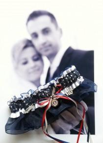 wedding photo - US Military Air Force Wedding Garter - Toss Garter - Set - AF Blue - Stars - Into the Wild Blue Yonder