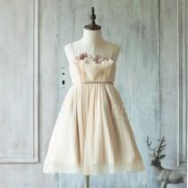 wedding photo - 2017 Beige Junior Bridesmaid Dress, Ruched Flower Girl Dress, Spaghetti Strap Rosette dress, knee length (JK007)