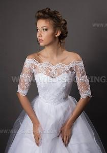 wedding photo - Off-Shoulder Wedding Bolero Jacket sleeves bridal lace TOP lace off-the-shoulder top bolero back fastening buttons lace top off shoulder