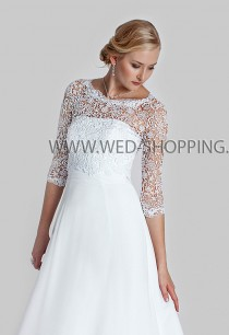 wedding photo - Guipure Lace Wedding Bolero 2/3 sleeves  Guipure bridal bolero wedding wrap E1602 Lace bolero backwards back fastening buttons