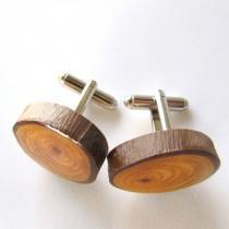 wedding photo - Wood Cuff links, Groom Cuff links, Mens Cuff links, Gifts for Him, Wooden Cuff links