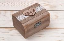 wedding photo - Ring Bearer Box Wedding Ring Box Ring Holder Wooden Personalized  Monogram Ring Box with Heart Rustic Weddings / R - 1